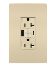 radiant 20A Tamper Resistant Outdoor Self Test GFCI USB Type AC Outlet  Ivory