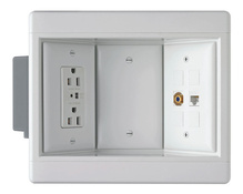 Three-Gang Recessed TV Box Kit, White