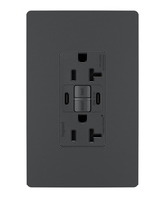radiant® 20A Tamper-Resistant Self-Test GFCI USB Type-CC Outlet, Graphite, 4-Pack