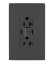 radiant® 20A Tamper-Resistant Self-Test GFCI USB Type-CC Outlet, Graphite, 4-Pack