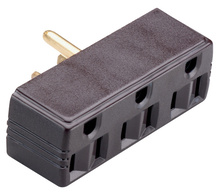 15A/125V Plug-in Adapter, 2 Pole, 3 Wire,  Brown