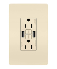 radiant® 15A Tamper-Resistant Self-Test GFCI USB Type-AA Outlet, Light Almond