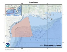 This is a map of the Texas closure shrimp fishery management area in the Gulf of Mexico.
