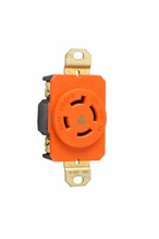 20 AMP NEMA L1620 Single Receptacle, Orange, Isolated Ground