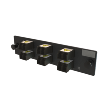 Q-Series, OFP Adapters 6 Keyed Front Non-Keyed Rear LC Duplex Adapters, 12 Fiber, Black