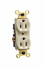 Weather-Resistant Heavy-Duty Spec Grade Receptacles, Back & Side Wire, 15A, 125V, Ivory