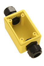 "Watertight Deep Yellow Back Box, 1"""" Feed Thru NPT for Duplex Receptacles"