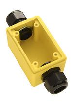 "Watertight Deep Yellow Back Box, 1"""" Feed Thru NPT for Duplex Receptacles"