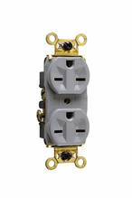 Weather-Resistant Heavy-Duty Spec Grade Receptacles, Back & Side Wire, 15A, 250V, Gray
