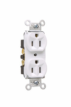 Hard Use Spec Grade Receptacle, Back & Side Wire, 15A, 125V, White