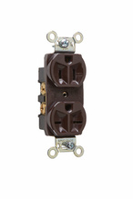 Hard Use Spec Grade Combination Receptacle, Side Wire, 15A, 125/250V, Brown