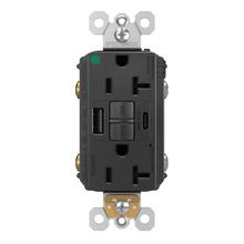 radiant 20A Hospital Grade Tamper Resistant Self Test GFCI USB Type AC Outlet  Black