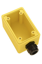 "Watertight Deep Yellow Back Box, 3/4"""" NPT Opening for Single Receptacles"