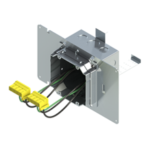 4'' Square Box with 2-Gang Adj. Plaster Ring and 2 Grounded PlugTail Switch Connectors with protective mud cover - Box of 10 [EF000066]
