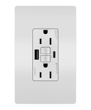 radiant® 15A Tamper-Resistant Self-Test GFCI USB Type-AC Outlet, White