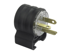 15A, 250V Extra-Hard Use Hospital-Grade Angled Plug, Black & Clear