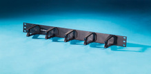 Cable Management Panel - five horizontal polycarbonate plastic distribution rings 1.75 H x 3 in D - 1 rack unit - black