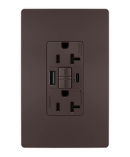 Discontinued | radiant® 20A Tamper-Resistant Self-Test GFCI USB Type-AC Outlet, Dark Bronze | Sub 2097TRUSBACDBC4