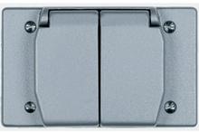 One Gang Heavy Cast Aluminum Cover Duplex Receptacle Horizontal, Gray