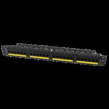Category 6A TechChoice Flat Patch Panel 24 Port 2RU Black