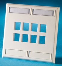 DUAL GANG PLASTIC FACEPLATE, HOLDS TWELVE KEYSTONE JACKS OR MODULES