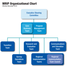 An organizational chart that depicts the structure of the teams that make up the Marine Recreational Information Program.