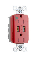 Hospital-Grade USB Charger with Tamper-Resistant 15A Duplex Receptacles, Red