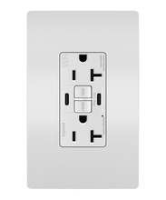 radiant 20A Tamper Resistant Outdoor Self Test GFCI USB Type CC Outlet  White