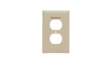 Pad Printed Wall Plate, Emergency, One Gang Duplex Receptacle, Ivory
