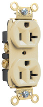 Heavy-Duty Spec Grade Receptacles, Back & Side Wire, 20A, 125V, Ivory