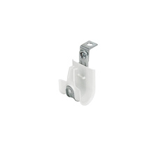 1'' White Plastic Coated J-Hook w/ Latch & 90° Angle Clip 3/8'' Rod Box of 25 [F000644]