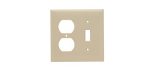 Combination Openings, 1 Toggle Switch & 1 Duplex Receptacle, Two Gang, Ivory