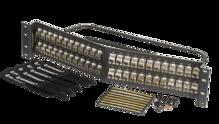 Cat6A shielded 48 port panel angled - with individual shielded keystone jacks