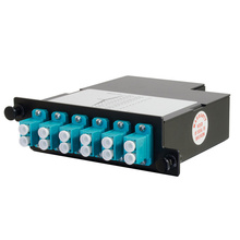 12-FIBER OM4+ M4 CASSETTE WITH 12 LC DUPLEX ADAPTERS TO 1 MPO M- TIER 2- METHOD B- NEAR END