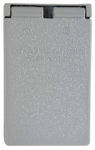 Cast Weatherproof Cover Duplex Receptacle Vertical, 5 Screw Mounting, Gray