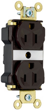 Industrial Extra Heavy-Duty Spec Grade Receptacles, Back & Side Wire, 15A, 125V, Brown