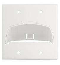 Double Gang Hinged Bullnose Wall Plate, White
