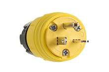 20A, 250V Watertight Straight Blade Plug, Yellow
