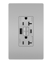 radiant 20A Tamper Resistant Outdoor Self Test GFCI USB Type AC Outlet, Gray