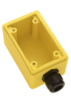 "Watertight Deep Yellow Back Box, 3/4"""" NPT Opening for Duplex Receptacles"