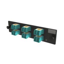 Q-Series, OFP Adapters 6 Keyed Front Non-Keyed Rear LC Duplex Adapters, 12 Fiber, Aqua