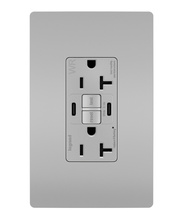 radiant 20A Tamper Resistant Outdoor Self Test GFCI USB Type CC Outlet, Gray