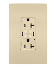 radiant 20A Tamper Resistant Outdoor Self Test GFCI USB Type CC Outlet  Ivory