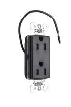 PlugTail® Split Circuit Tamper-Resistant Decorator Spec Grade Receptacle, 15A, 125V, Black