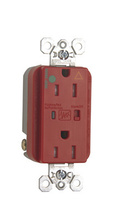 Tamper-Resistant Hospital Grade Isolated Ground Surge Protective Duplex Receptacle, Red