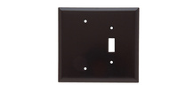 Combination Openings, 1 Toggle Switch & 1 Blank, Two Gang, Brown