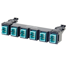 HDJ Series 6 SC to SC Simplex Fiber Adapter Panel, 6-Fiber OM3 - Aqua
