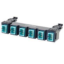 HDJ Series 6 SC to SC Simplex Fiber Adapter Panel, 6-Fiber OM3 - Aqua
