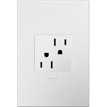 adorne Tamper-Resistant Outlet and Gloss White Wall Plate