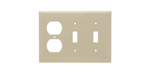Combination Openings, 2 Toggle Switch & 1 Duplex Receptacle, Three Gang, Ivory